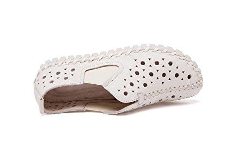Femmes Dames Nouveaux Loisirs Chaussures de mode Chaussures simples Bottines creuses en poudre Pompes en cuir véritable Fête de l'automne Fête Travail White