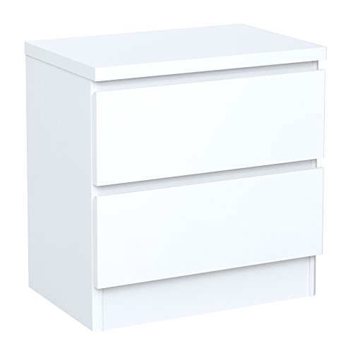 INFINIKIT Haven Table de chevet 2 tiroirs en bois blanc