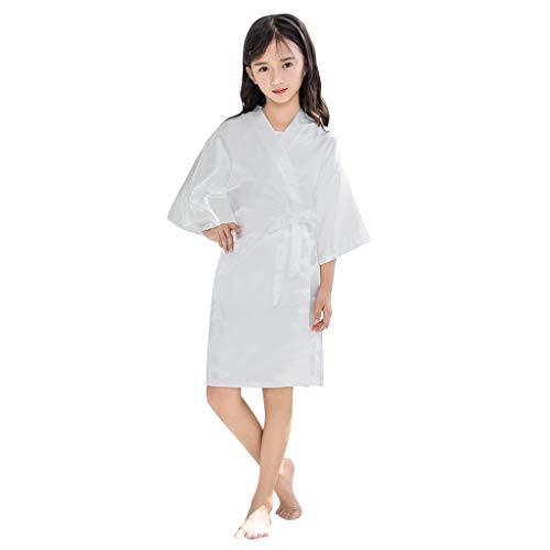Lonshell Kinder Mädchen Satin Bademantel Kurz Kimono Robe mit Gürte Weich Saunamantel Morgenmantel Negligee Niedlich Pajama Nachtwäsche Schlafrock
