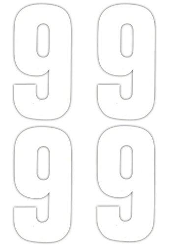 4 x numéro 9 Stickers pour poubelle à roulettes
