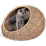 D+ Garden Cama de Mimbre para Gatos de Interior casa de Gatos Moderna Cubierta escondite de Casas de ratán para Mascotas en Cesta de cúpula, Lavable
