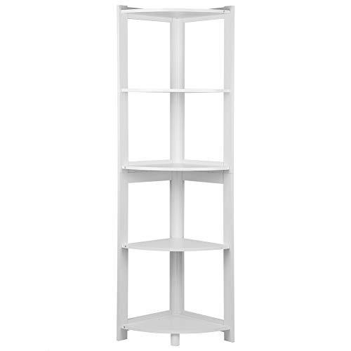 Cocoarm Eckregal Ecke Bücherregal Standregal Ecke Einfache Montage 5 Ebenen für Zuhause Wohnzimmer Schlafzimmer Balkon Weiß(81)