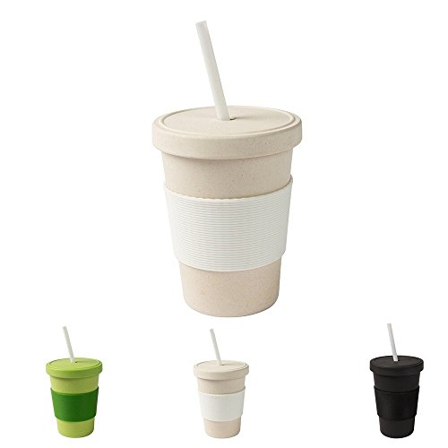 ECO Friendly Bambus Trinkbecher mit Deckel und Trinkhalm von kaufdichgrün I Melamin Becher Bamboo Cup Travel Mug Mehrweg Kaffeebecher to go BPA frei I weiß 400 ml