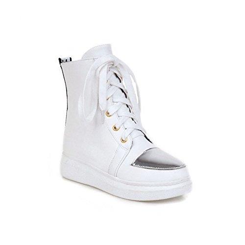 AllhqFashion Damen Ohne Absatz Niedrig-Spitze Rein Schnüren Stiefel Weiß