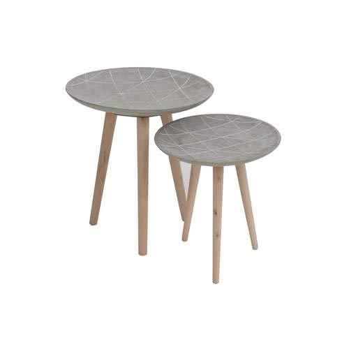 Le drugstore modern Set de 2 Tables gigognes Scandi Ciment Gris