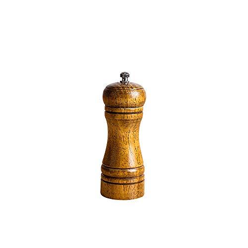 EUTUOPU Spice Milling Machine Manual Wooden Cruet Pepper Mill Condiment Kitchen Oak Grinder Pepper Smash Device (5 Inches) -
