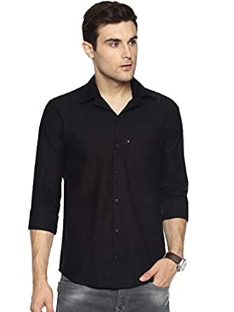 LEVIZO 100% Cotton Plain Solid Collar Casual Shirt Full Sleeves for Men Black M