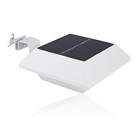 Liqoo® LED PIR Sensor Solarlampe Solarleuchte Wandleuchte Gartenleuchte Solar Leuchte Lampe mit Bewegungsmelder Drahtlos Kaltweiß 6000K Wasserdicht IP44 für Dachrinnen Wand Garten Terrasse Treppen Weiß