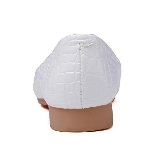 AgooLar Femme Pointu Tire Pu Cuir Couleur Unie Non Talon Chaussures à Plat Blanc
