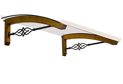 BELLHOUSE COPERTURE hälzern Vordach Modell Legno Stella HONIG - TIEFE 90 HÖHE 42 BREITE 150 ZM TRANSPARENT