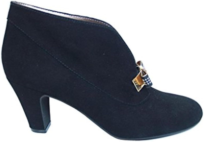 Gennia XEKAZO - Damen Stiefel & Stiefeletten mit Absatz und Gold Siebschleife -