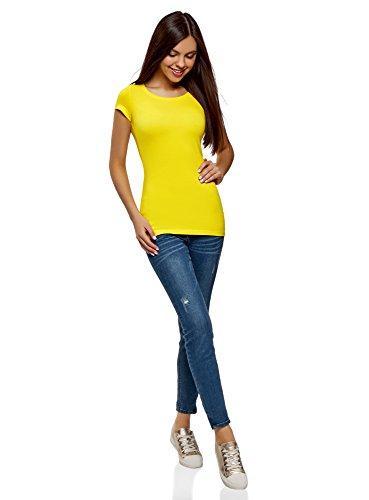 oodji Ultra Damen Tailliertes T-Shirt Basic Gelb (5100N)