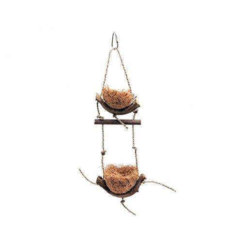 Vogelspielzeug Natural Körbchen 2 Etagen, Aktives Spielzeug, Holz, Seile, Schale