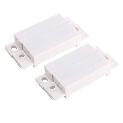 ZCHXD 2pcs MC-31 Surface Mount Wired NO Door Contact Sensor Alarm Magnetic Reed Switch White -