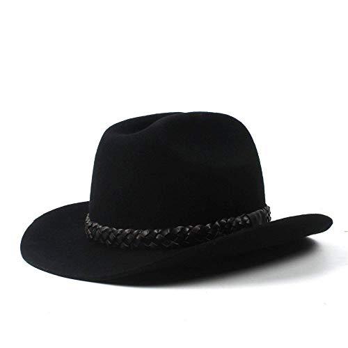 Vintage Western Wear (GZ Vintage Schwarzer Bailey-Hut Cowboy-Hut 100% Wollfilz Kleine Cassidy Crown Country Western Wear Outback Stil Der Frauen,Schwarz,57-58 cm)