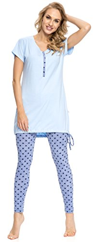 DN nightwear Pigiama per lallattamento PM.9007 Blau XL