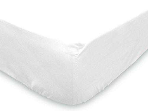 Soleil d'Ocre 615800 Drap Housse Uni Coton 57 Fils Blanc 200 x 180 cm
