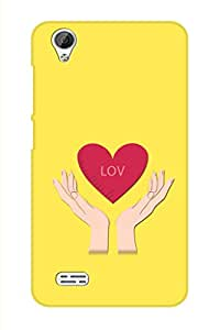 SRS Love With Hands Yellow 3D Back Cover for Vivo Y31L