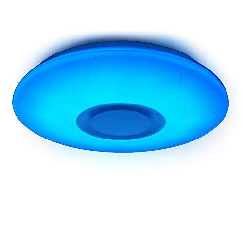 Bluetooth Deckenleuchte,HOREVO LED Deckenleuchte mit Fernbedienung Dimmbar 24W 1800 Lumen Deckenleuchte mit Bluetooth Lautsprecher Deckenlampe Beleuchtung Modern für Kinderzimmer, Party, Wohnzimmer