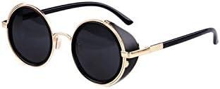 TOOGOO(R)Gafas de sol de Steampunk clasica Redonda de Estilo vintage de los anos 80 -Negro con el borde de oro