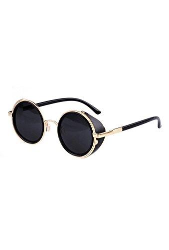 SODIAL(R)Gafas de sol de Steampunk clasica Redonda de Estilo vintage d