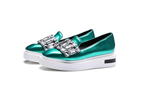 Beauqueen Toe Square Schuhe Jewels Green Frühling Faux 34 Sommer 43 Pumps Loafers Und Flat Lazy Frauen Freizeitschuhe HTBHq