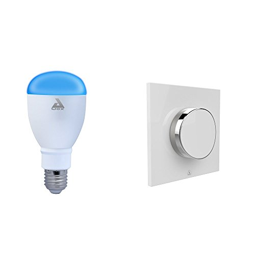 AwoX SKPL-C9-E27 SmartKIT SmartLIGHT Color E27 + SmartPEBBLE, Plastique, 9 W, Blanc/Chromé