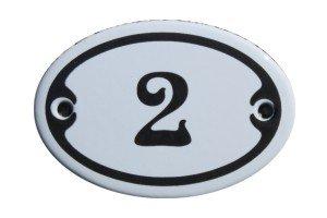 Nummer 2 mini Emaille Schild Jugendstil ca. 4,2 x 6,2 cm Türschild Zimmer Schublade Schrank Kommode...