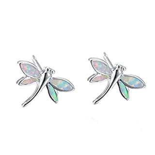 ACVIP Women's Dragonfly Opal Silver Plated Earrings Ear Studs (White)