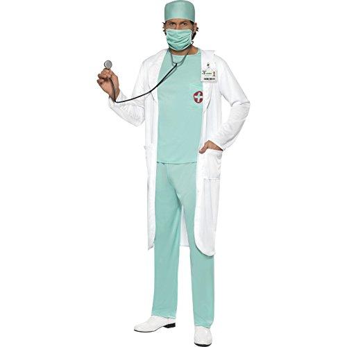 or Kostüm, Oberteil, Hose, Haube, Mundschutz, Klares Namensschild und Kittel, Größe: M, 39482 (Arzt Kostüme)