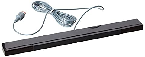 Assecure replacement black wired infrared LED sensor bar for Nintendo Wii & Wii U, includes clear stand, Wii remote & motion plus
