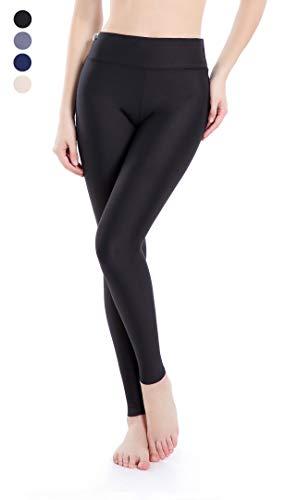 Wirezoll Leggings Damen, Hochelastische Sport Yoga Hohe Taille Hose für Gym und Jogging / 3 Länge Kurz zu Schneiden/Aus Baumwolle (Schwarz, L)