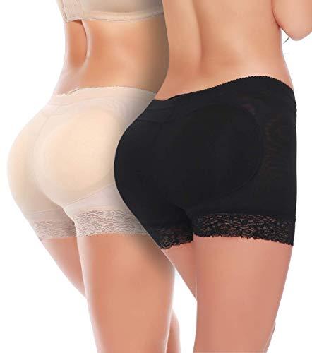 euwanyu Body Shaper Panty Padded Pad Butt Lifter Booty Hip Enhancer Shapewear (Black+beige) - Designs Down Bootie