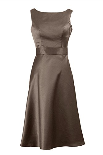 Gorgeous Bride Elegant Knielang U-Ausschnitt Etui Satin Abendkleid Partykleid Ballkleid Hell-Schokolade