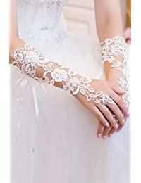 Sexy white lace floral pattern and diamante elbow length fingerless gloves bridal hen night costume clubwear wedding