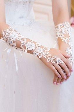 Sexy weiß mit Blumenmuster und Strass elbow Fingerlose Handschuhe Braut-Junggesellinnenabschied Kostüm Hochzeit, (Junggesellinnenabschied Kostüme Uk)