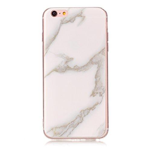 iPhone 6 Plus Coque (Marbre), iPhone 6s Plus Coque Transparente Silicone en Gel Tpu Souple, Housse Etui Coque de Protection avec Absorption de Choc et Anti-Scratch OUJD -Multicolore+marron+vert rosé Vert foncé, vert, jade blanc