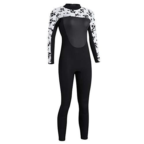 FLAMEER Damen Neoprenanzug Lang 3mm Full Longsuit Surfanzug Schnorchelanzug Tauchanzug UV-Schutz Badeanzug mit Reißverschluss - Schwarz-Weiß 2 L