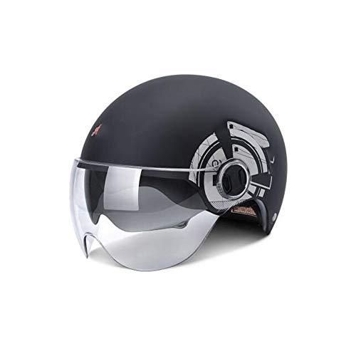 TZQ Fahrradhelm Mit Visier, Leichtes, Abnehmbares Magnetschild Atmungsaktiv Für Männer, Frauen, Schutz Der Sicherheit,Black-56~62cm
