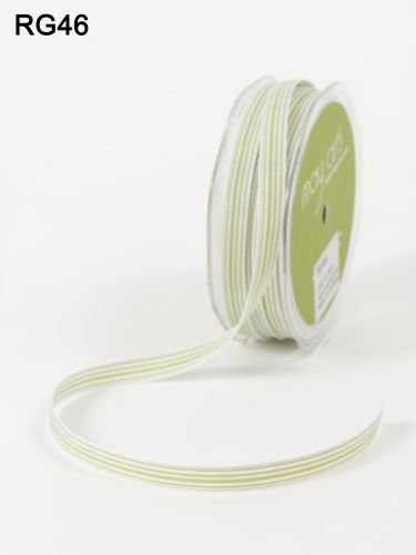 White Stripe Grosgrain (Celery Green & White 10mm Grograin Stripe Ribbon by May Arts on a 3m length (N.B. this is a cut from a roll) by May Arts)