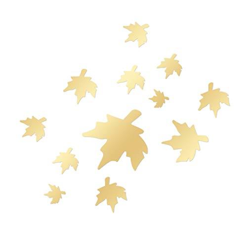 YWLINK AcríLico 3D Maple Leaf Efecto Espejo Combinado Etiqueta De La Pared...