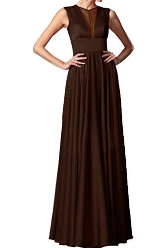 Ivydressing Damen Einfach Rundkragen Tuell&Charmeuse A-Linie Partykleid Promkleid Festkleid Lang Abendkleid Schokolade