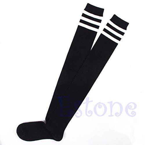 Lamdoo Mode Frauen Sexy Streifen Baumwolle über Knie Socken Oberschenkel Hohe Strümpfe Lange Socken - Schwarz