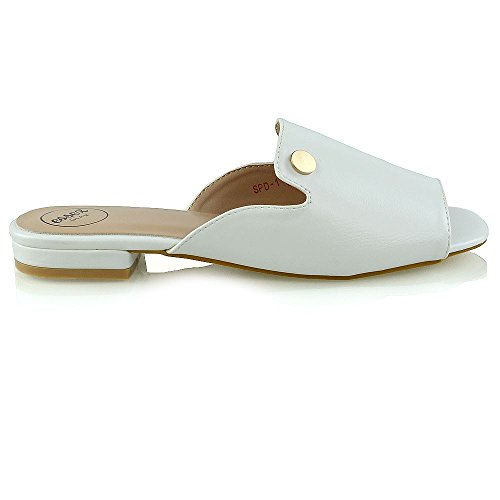 ESSEX GLAM Donna Peep Toe Pelle Sintetica Slider Vacanza Estate Sandalo Bianco Pelle Sintetica