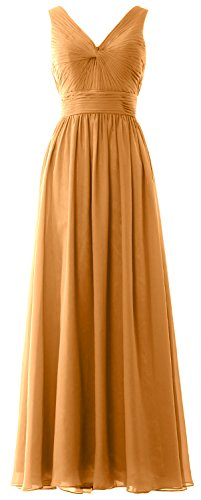 MACloth Women Long Bridesmaid Dress Straps V Neck Chiffon Formal Party Gown Gold