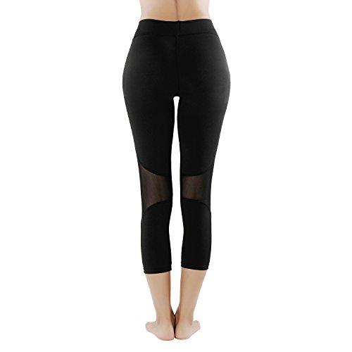 GoVIA Legging pour femme Pantalon de course à pied avec empiècements en mesh Fitness Yoga Pantalon de sport Taille haute Tissu maille respirant Modell 2-court