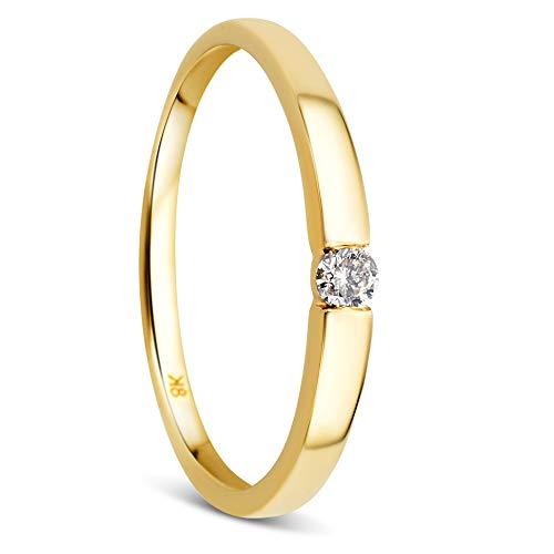 Orovi Damen Diamant Ring Gelbgold, Verlobungsring 8 Karat (333) Gold und Diamant Brillanten 0.05 Ct, Solitärring - Frauen Diamanten Für Ring