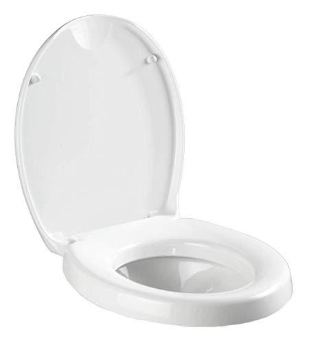 WENKO WC-Sitz Secura Comfort, Toilettensitz, mit Sitzflächenerhöhung und Absenkautomatik, Duroplast, 37 x 43,5 cm, weiß