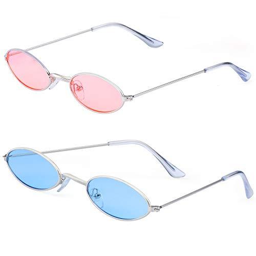 Haichen Vintage kleine ovale Sonnenbrille für Frauen Männer Retro Hippie Brille Metallrahmen Bonbonfarben (Blau + (70 Prominente Kostüm)