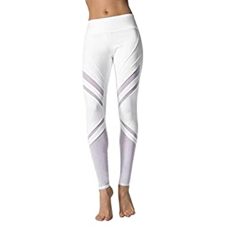 Women Yoga Pants, Amlaiworld Sexy Women High Waist Sports Gym Yoga Running Fitness Leggings Pants Athletic Trouser (L, White)